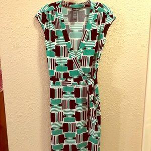 Bisou Bisou Green Wrap Dress